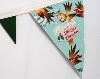 Bundled-up Birdies Holiday Bunting Banner