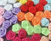50 Satin Ribbon Rose Flower Appliques 10 Colors Craft EA36