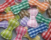100 Padded Gingham Bow Appliques 10 Color EA61