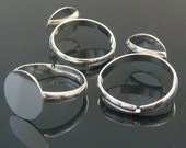 10 Shinny Silver Plated Adjustable Ring Blank Glue On Pad 12mm