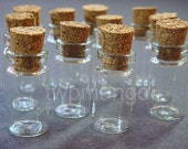 25 Clear 1ml Glass Bottles Vials with Corks........ 1ml-25