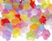 100pcs Acrylic Trumpet Flower Beads...10 Colors...14mm...N51