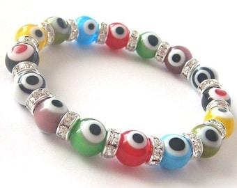 Multi Color Evil Eye Crystal Glass Bead Bracelet....M23