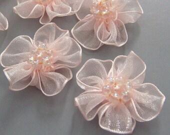 10 Peach Organza Flower Appliques Glittering Bead EA82-3