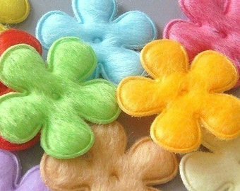 30 Padded Furry Flower Appliques 10 Colors EA142