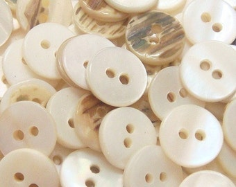 100(pcs) Round Shaped Mother of Pearl Shell Buttons EB23