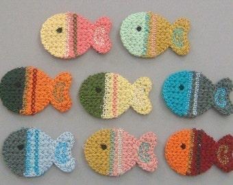 8 Crochet Fish Appliques 8 Colors EA126