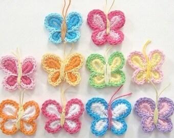10 Crochet Butterfly Appliques 10 Color EA117