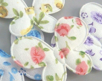 Lot of 20 Padded Floral Print Butterfly Appliques EA148
