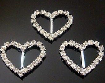 10pcs Rhinestone Ribbon Sliders...Buckles...Heart...22mmx27mm..M21