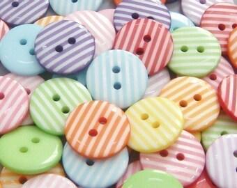 70(pcs) Round Stripe Buttons 10 Color EB42