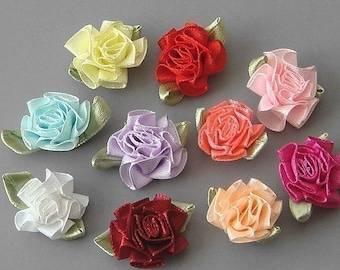 Lot of 40 Satin Ribbon Cabbage Rose Flower  Appliques EA80