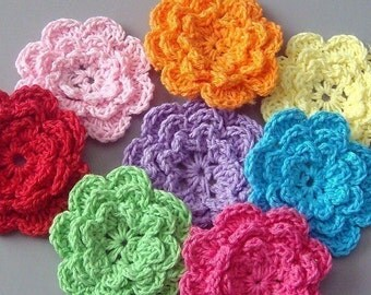 40pcs 2 inch Handmade Crochet Flower Appliques..... 8 Colors EA136