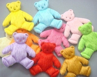 30 Padded Furry Teddy Bear Appliques 10 Colors EA104