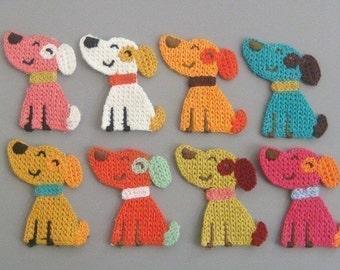 8 Crochet Doggie Appliques 8 Colors EA127