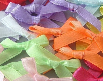 100 Pieces Satin Ribbon Bow Appliques 10 Color EA108