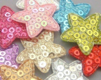 30 Padded Sequin Star Appliques Sewing Craft EA144