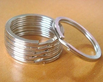 "10 Silver Metal Round Key Rings...Split Rings...1 1/16 ""...H53-10"