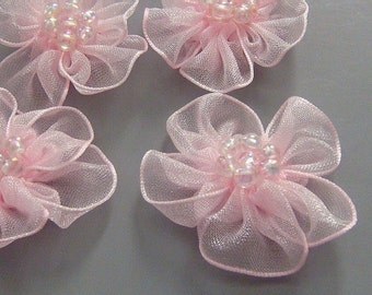 10 Pink Organza Flower Appliques Glittering Bead EA82-1