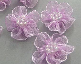10 Lavender Organza Flower Appliques Glittering Bead EA82-4