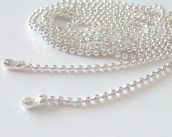 10pcs Shiny Silver Plated Ball Chains Necklace 18 inch... 1.5mm.... Great for Scrabble Tiles,Glass tiles,Bottle Caps and more.....M6