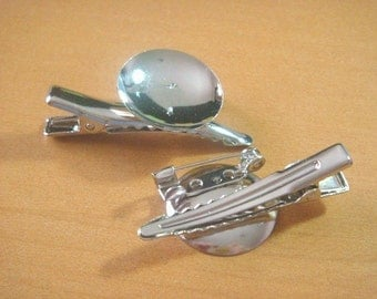 10pcs Metal Brooch Pins...20mm Glue Pad...Bar Pins...Alligator Clips...H57-10pc