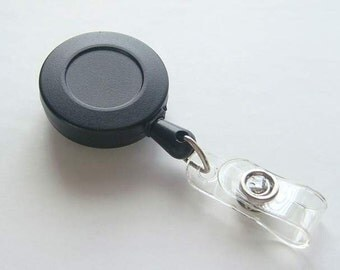 25 Blank Black ID Badge Reels...Retractable Cord...Belt Clip.... Great For Covered Button / Bottle Cap....and more K66-25