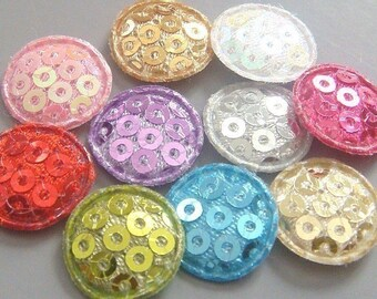 60 Padded Sequin Round Dot Appliques 10 colors EA165