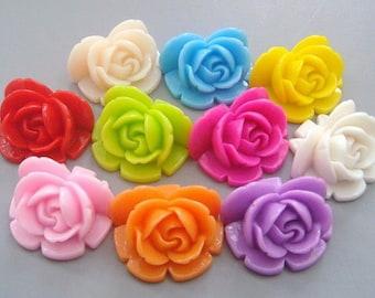 20pcs Rose Flowers...Resin...Cabochon...25mm...10 Colors...F4