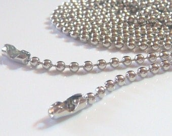 100 Ball Chain Necklaces... Silver Plated... 2.4mm... 24 inch.... Great for Scrabble Tiles,Glass Tile Pendant,Bottle Caps and more......