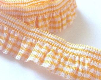 5 Yards Gingham Ribbons...Trimming...Ruffle...Elastic...Orange...R15-4
