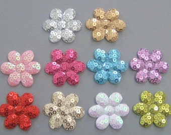 20 Padded Sequin Flower Appliques 10 Colors Craft EA183