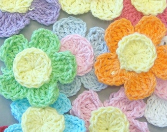 20 Handmade Crochet Flower Appliques...10 Colors... EA196