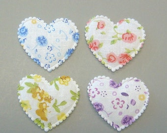 20 Padded Floral Print Heart Appliques EA212
