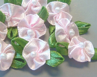 50 Satin Ribbon Flower Pearl Appliques Craft Sewing EA214