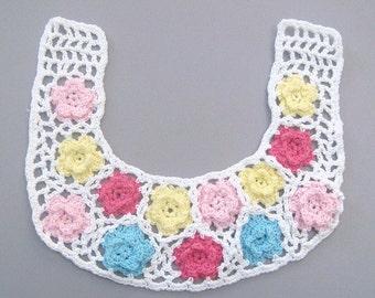 Handmade Crochet Flower Collar Applique EA199