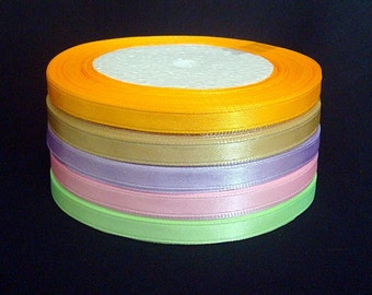 125 Yards 1/4 inch(6mm) Satin Ribbon Assorted Colors ER10