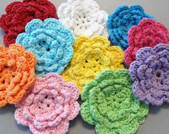 10 Large Handmade Crochet Flower Appliques... 2.75 inch...10 Colors...EA162