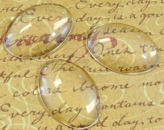 10 Clear Oval Glass Cabochon Dome...24x34mm...Cameo...Transparent...N31