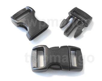 """50 3/8"""" Contoured Side Release Buckles Black Webbing Straps Paracord Bracelet H78-50"""