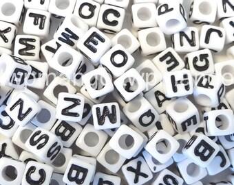 250 Acrylic ABC Letter Alphabet Cube Beads 7mm N35