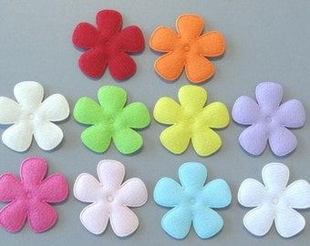 "20 Padded Large Felt Flower Appliques 1 3/4"" 10 Colors EA231"