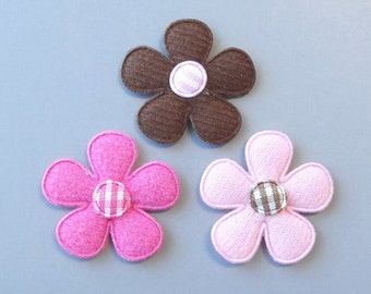 30 Padded Felt Gingham Center Flower Appliques 3 Colors Sewing Craft EA241