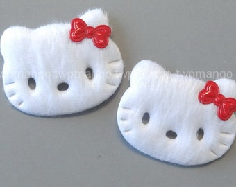 20 White Furry Felt Kitty Cat Appliques Sewing Craft EA235