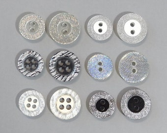 Lot of 120 Glitter Round Buttons... Sewing...Craft... EB152