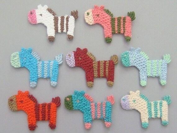 8 Crochet Pony\/Horse Appliques 8 Colors EA128