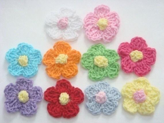 20(pcs) Crochet Flower Appliques 10 Color EA83