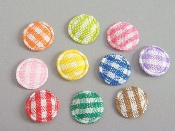 100 Padded Gingham Round Dot Appliques 10 colors EA164