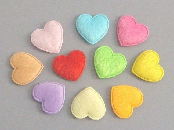 30 Padded Furry Heart Appliques 10 Colors EA64