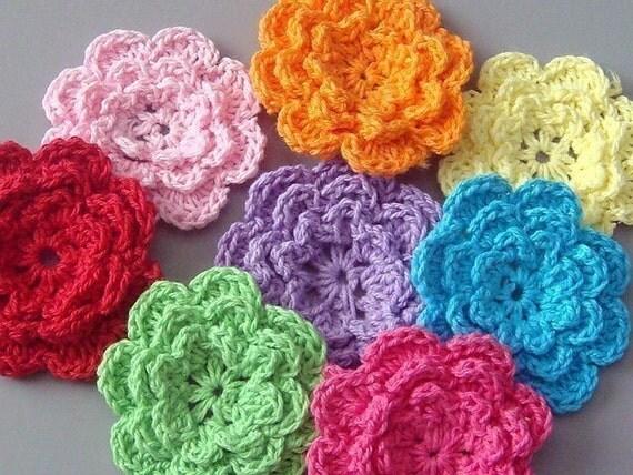 40pcs 2 inch Handmade Crochet Flower Appliques..... 8 Colors EA136